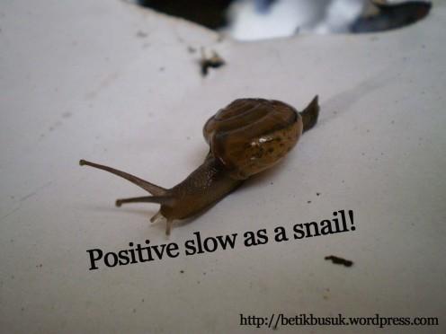Hendaklah mengikut kemampuan diri.. fikirlah positif.. biar lembab asal berfikiran positif..